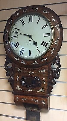 Beautiful Antique Fusee Chain Drive Rosewood Pearl Inlay Wall Clock 150 Yrs Old