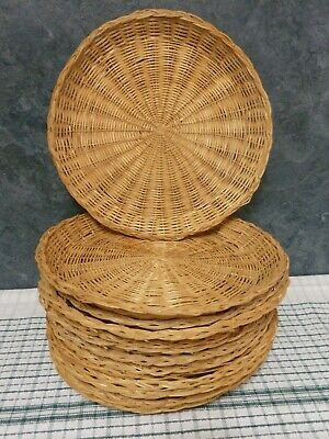 """Bamboo Paper Plate Holders Rattan ~ Wicker ~ Picnic BBQ Camping 4 @ 10"""""""