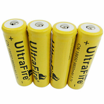 4X 18650 Battery 3.7V 9800mAh Li-ion Rechargeable Low Drain Batteries for Torch