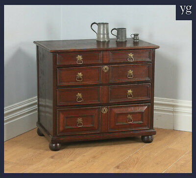 Antique English William & Mary Oak Panelled Geometric Chest of Drawers c.1690