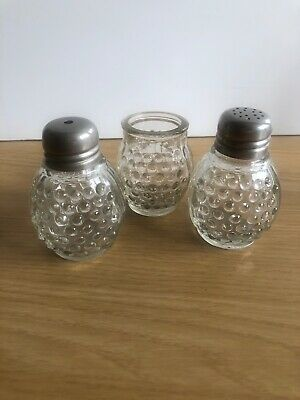 VINTAGE PAIR OF MINIATURE GLASS SALT / PEPPER  & MUSTARD POT Retro Bubble Design