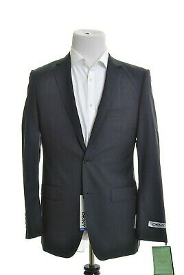 DKNY Mens Slim Fit Navy Blue Tonal Stripe 2 Button 100% Wool Sportcoat Blazer