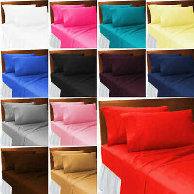 Plain Fitted bed Sheets Flat Sheets  Pillowcase Covers Pollycotton all sizes