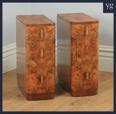 Antique Pair of Art Deco Burr Walnut Bedside Chests Cabinets Tables Nighstands