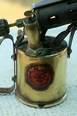 "Antique British Monitor Brass Paraffin Burner Solder 20cm/ 7.9"" 2.6lbs"