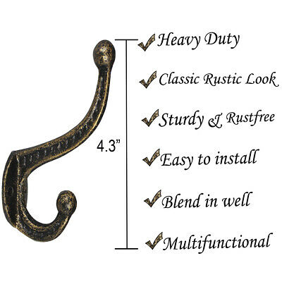 Cast Iron Clothes Hooks Wall Mounted Hangers for Coats  Pans Keys x4(Old Bronze)