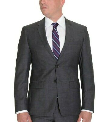 DKNY Classic Fit Two Button Charcoal gray Textured 100% Wool Blazer 36S