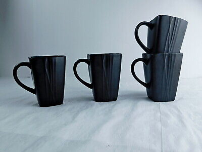 Coffee Cup/ Ceramic Mug, 14-Ounce Black / Green Set of 4 Reactive Glaze NEW