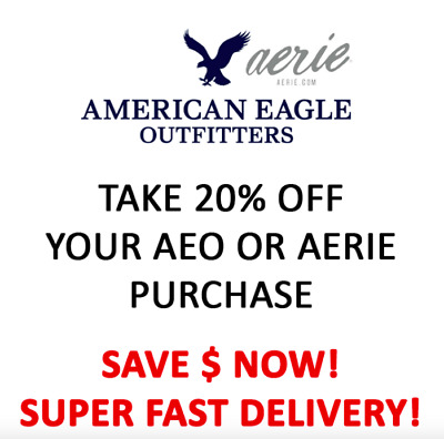 American Eagle COUPON 20% OFF Purchase * In Store & Online * Works on Sale 9/30