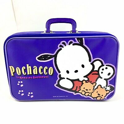 2001 Sanrio Pochacco Dog Suitcase Small Childrens Travel Case Top Handle Purple