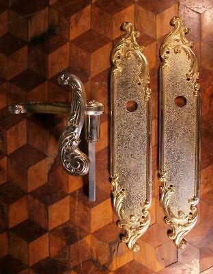 PAIR VINTAGE French Style Gilt Brass Door Handles Backplates Chateau Chic Rococo