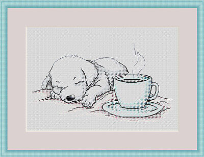 Puppy and Coffee Cross Stitch Chart