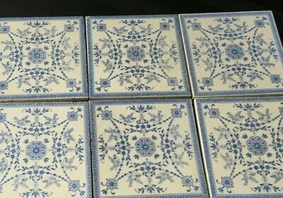 Set of eight rare Wedgwood Etruria tiles rare impressed mark 1898 blue & white