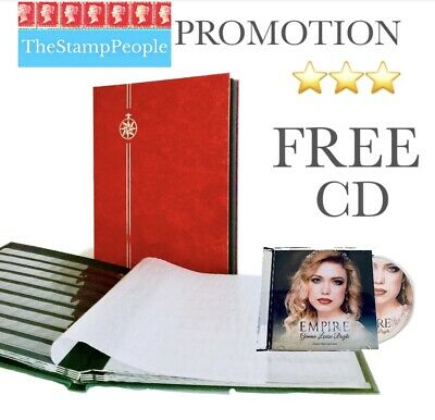 ** FREE CD ** ⭐️ RED STAMP STOCKBOOK ALBUM (48 Black Pages) Stock book | Stamps