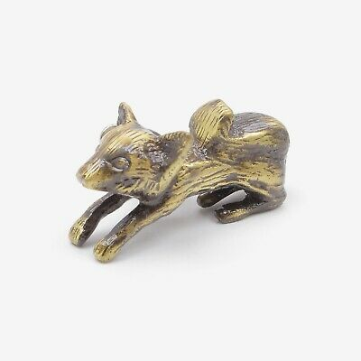 Solid Brass Antique Jumping Running Fox Knob, Pull, Handle, for Cupboards, Doors