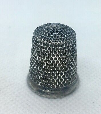 Antique Simon Brothers Sterling Silver Thimble Size 12 Sewing Accessory