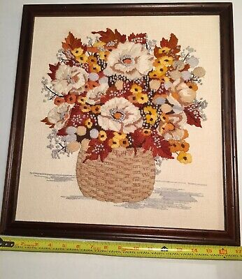 Vintage Framed Needlepoint Flowers Floral Wall Hangings Pictures 70's Colors