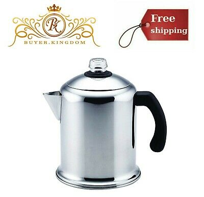 Home Stainless Coffee Mirror Finish Stovetop Percolator Clear Glass Knob 8 Cups