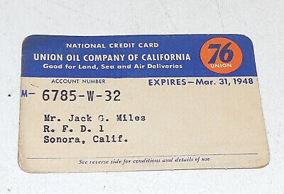 Union 76 Credit Card 1947 Vintage Paper Card