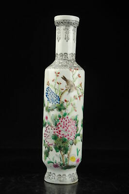 china old hand-made famille rose bird and flower pattern porcelain vase b02