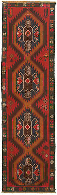 """Hand-knotted Carpet 2'3"""" x 8'3"""" Traditional Vintage Wool Rug"""