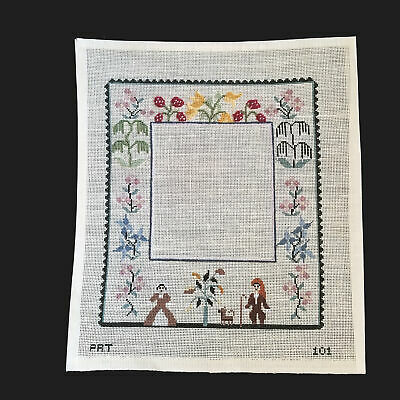 Pat Needlepoint Canvas:  Vintage Floral Themed Frame Bm
