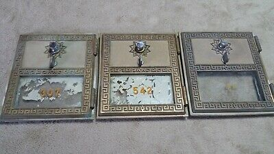 1960 Antique Vintage Post Office Box Brass Mail Door 5 x 6 1/8 Lot of 3