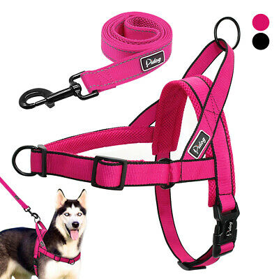 No Pull Dog Harness Front Leading Dog Harness Step in with Leash Set Reflective