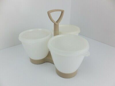 Vintage TUPPERWARE 3 Containers with Lids - Condiment Caddy