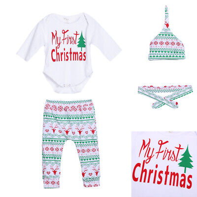 4pcs Baby Boy Girl Christmas Outfit Romper Pants Leggings Hat Clothes Set #VIC