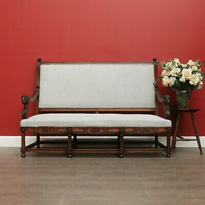 Antique French Hall Settle, Chaise, Armchair, Hall Bench Seat, Lounge, Armchair