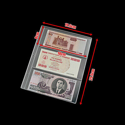20X Paper Money Banknote Holders Album 3 Pockets Pages Sleeves Storage Note A