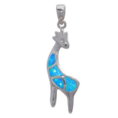 Blue Fire Opal Lovely Deer Silver for Women Jewelry Precious Gift Pendant OD6847