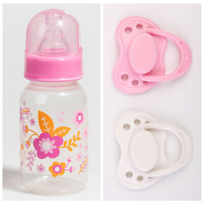 Reborn Baby Doll Accessories Feeding Nursing Bottle+2pc Dummy Magnetic Pacifier