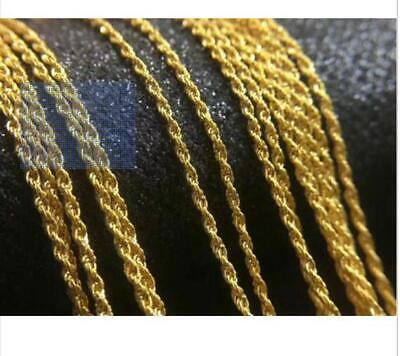 "Real Pure 18K Yellow Gold Necklace Solid AU750 18"" Twisted Rope Chain Necklace"