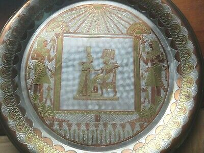 """Vintage 16"""" Copper Brass Metal EGYPT Wall Charger Plate Egyptian Pharaoh Ankh Ra"""