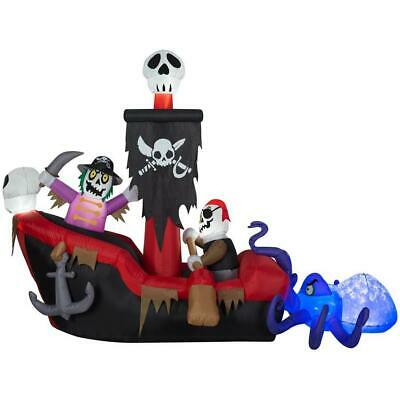 9 FT ANIMATED PIRATE SHIP WITH OCTOPUS Airblown Halloween Inflatable