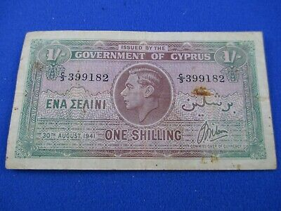 30th AUGUST 1941 - GOVERNMENT OF CYPRUS - ONE SHILLING