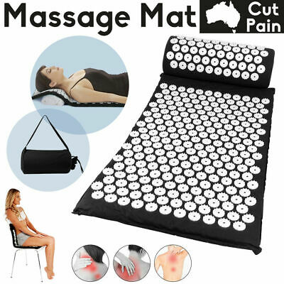 Massage Acupressure Yoga Mat And Pillow Back Neck Pain Stress Tension Body H