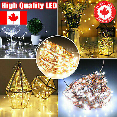 20/30/50/100 LEDs Battery Micro Rice Wire Copper Fairy String Lights Party white