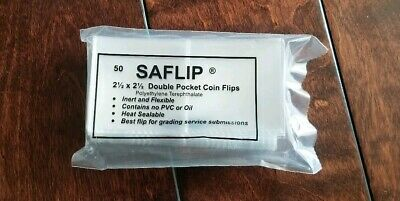 Saflip 2.5x2.5 Double Pocket Coin Flips Pack of 50 Archival Museum Grade