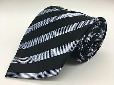 Mens Black & Metallic Light Blue Candy Cane Diagonal Striped Smart Formal Tie