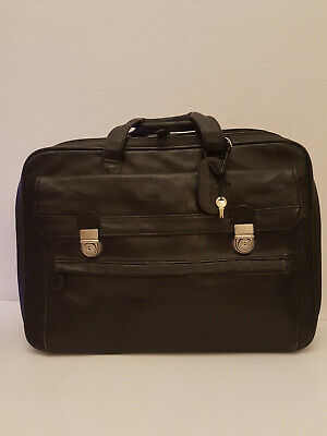 SAN MARCO Mens Black Laptop Bag Messenger Briefcase Business Work Leather
