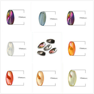 Wholesale AB Color Twisted Oval Glass Beads DIY Jewelry Making 17x9mm-20Pcs