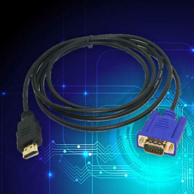 HDMI Gold Male To VGA HD-15 Male 15Pin Adapter Cable 6FT 1.8M 1080P FHS