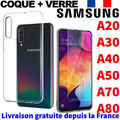 Protection Samsung Galaxy A40 A50 A10 A80 Coque / Verre Trempe Etui Housse Case