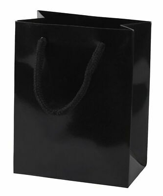 Pack of 5 - LUXURY BLACK GLOSS PAPER BAGS WITH ROPE HANDLES - GIFT BAGS