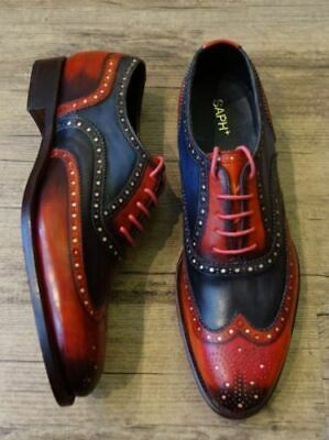 Mens Handmade Shoes Brogue Wingtip Latest Style Two Tone Leather Formal Boots