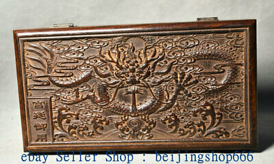 "11"" Collect Old Chinese Huanghuali Wood Dynasty Palace Dragon Jewelry Box"