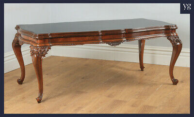 "Antique Italian Louis XV Style 6ft 6"" Carved Walnut & Glass Dining Table c.1970"